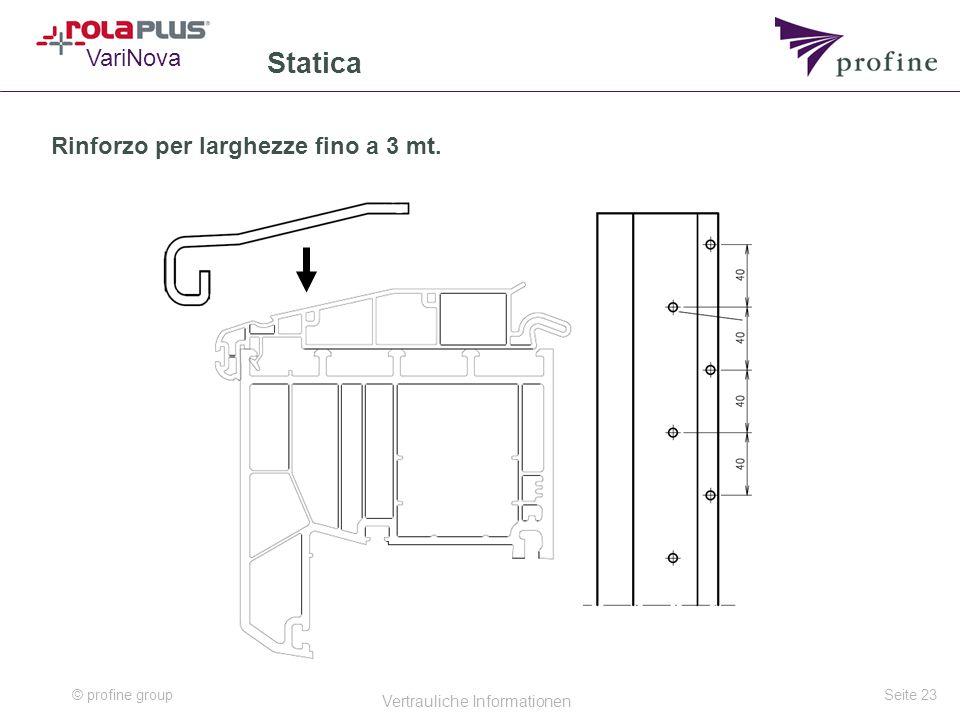 © profine group Vertrauliche Informationen Seite 23 Statica VariNova Rinforzo per larghezze fino a 3 mt.