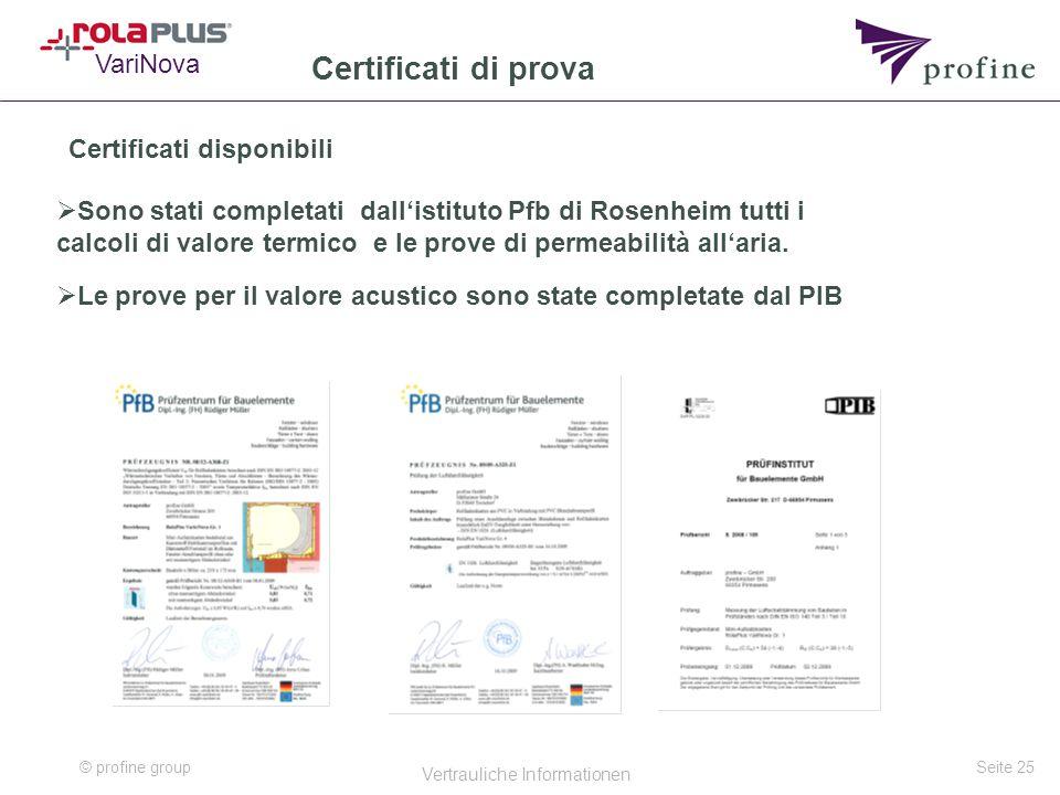 © profine group Vertrauliche Informationen Seite 25 Certificati di prova Certificati disponibili  Sono stati completati dall'istituto Pfb di Rosenheim tutti i calcoli di valore termico e le prove di permeabilità all'aria.
