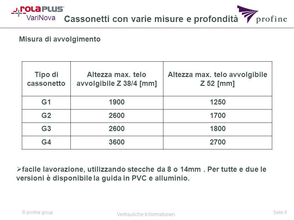 © profine group Vertrauliche Informationen Seite 6 Cassonetti con varie misure e profondità Misura di avvolgimento VariNova Tipo di cassonetto Altezza max.