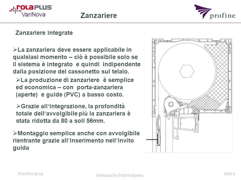 © profine group Vertrauliche Informationen Seite 8 Zanzariere Zanzariere integrate  La produzione di zanzariere è semplice ed economica – con porta-zanzariera (aperte) e guide (PVC) a basso costo.