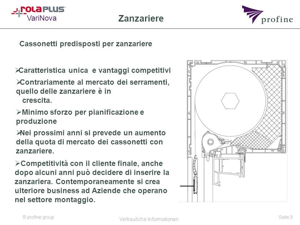 © profine group Vertrauliche Informationen Seite 9 Zanzariere Cassonetti predisposti per zanzariere  Caratteristica unica e vantaggi competitivi Vari