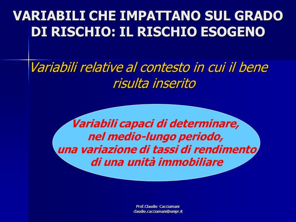 Prof.Claudio Cacciamani claudio.cacciamani@unipr.it VARIABILI CHE IMPATTANO SUL GRADO DI RISCHIO: IL RISCHIO ESOGENO Variabili relative al contesto in