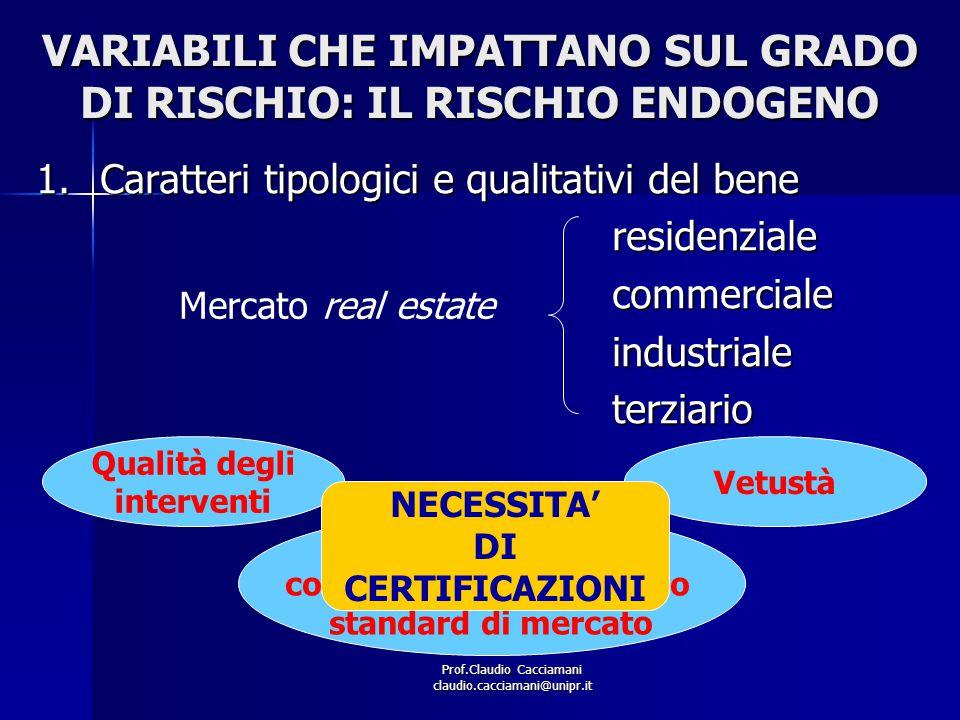 Prof.Claudio Cacciamani claudio.cacciamani@unipr.it VARIABILI CHE IMPATTANO SUL GRADO DI RISCHIO: IL RISCHIO ENDOGENO 1.Caratteri tipologici e qualita