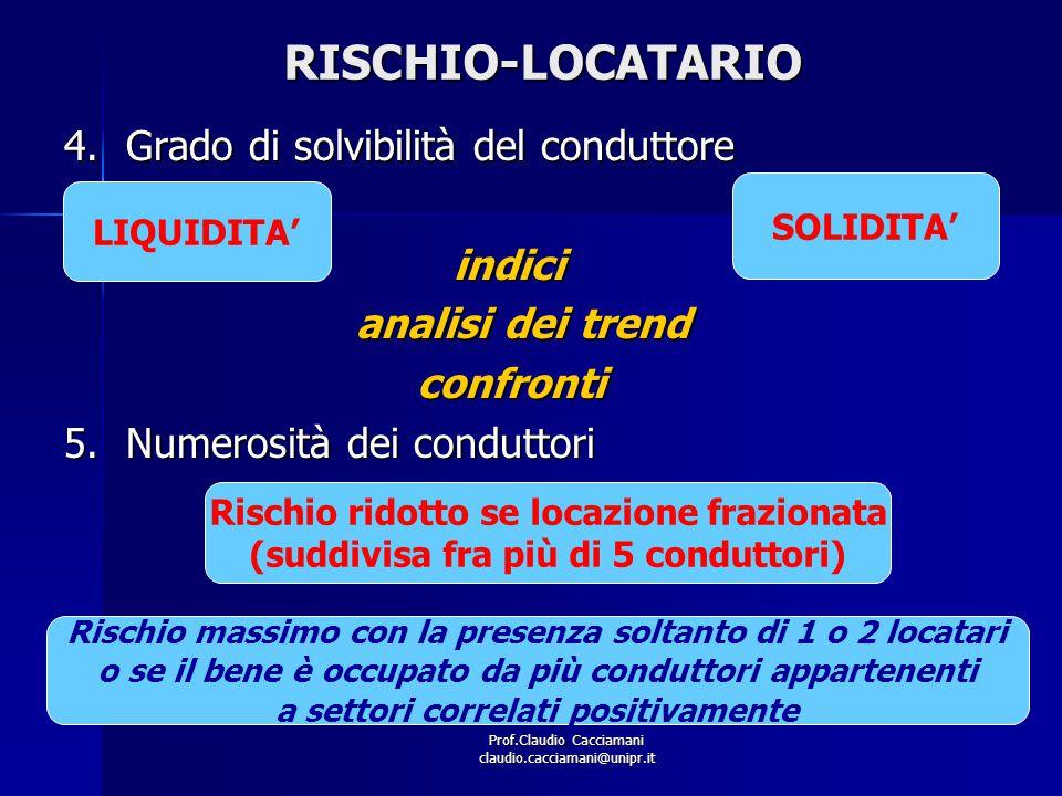 Prof.Claudio Cacciamani claudio.cacciamani@unipr.itRISCHIO-LOCATARIO 4.Grado di solvibilità del conduttore indici indici analisi dei trend analisi dei