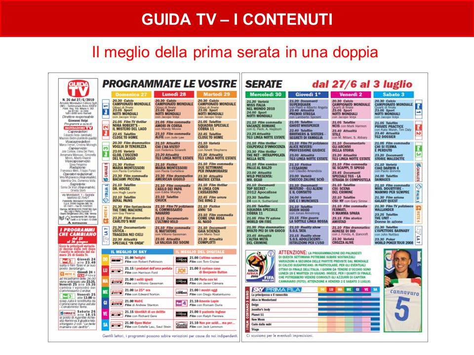Il meglio della prima serata in una doppia GUIDA TV – I CONTENUTI