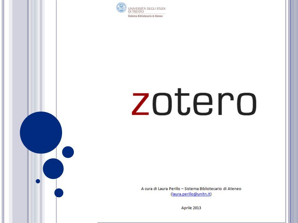 C OLLEZIONI PERSONALI 12 Tutti i riferimenti importati in Zotero vengono inseriti nella Libreria personale; per organizzare i riferimenti si possono creare collezioni e trascinarci sopra gli elementi.