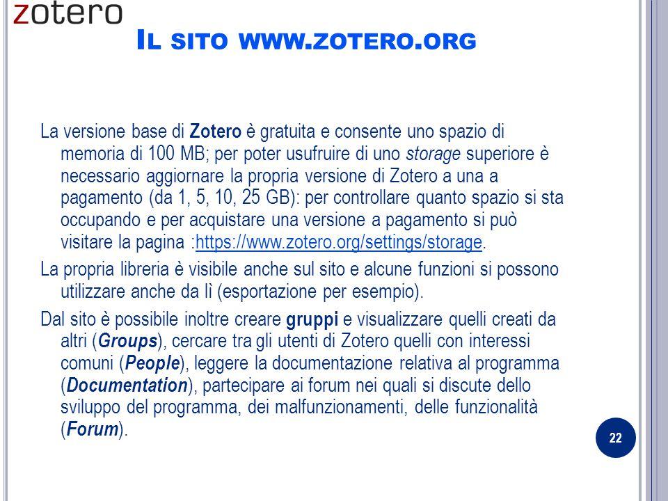 I L SITO WWW. ZOTERO.