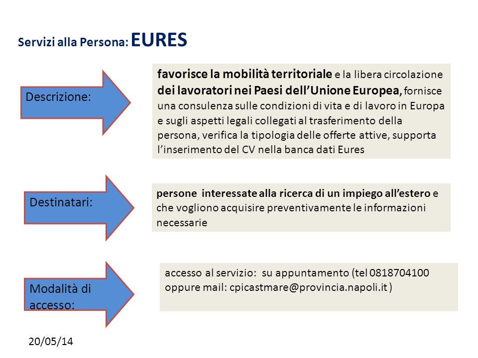 20/05/14 Servizi alla Persona: EURES favorisce la mobilità territoriale e la libera circolazione dei lavoratori nei Paesi dell'Unione Europea, fornisc