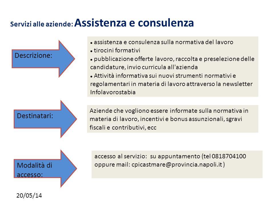20/05/14 Servizi alle aziende: Assistenza e consulenza assistenza e consulenza sulla normativa del lavoro tirocini formativi pubblicazione offerte lav