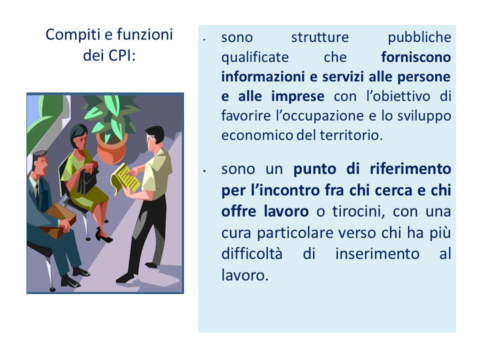 Compiti e funzioni dei CPI: sono strutture pubbliche qualificate che forniscono informazioni e servizi alle persone e alle imprese con l'obiettivo di favorire l'occupazione e lo sviluppo economico del territorio.