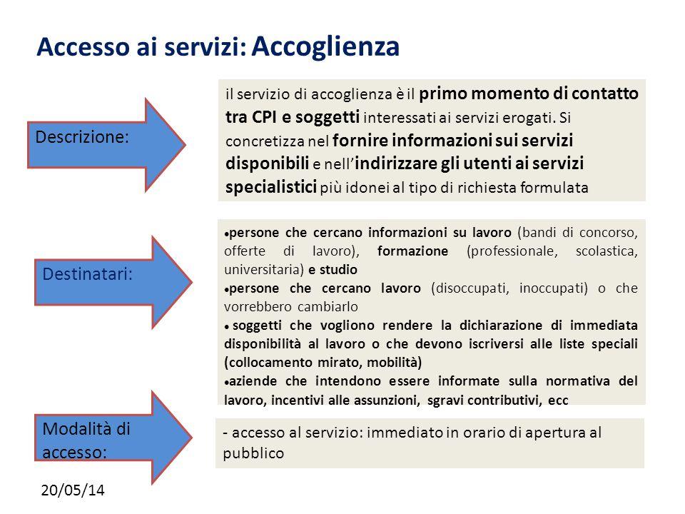 20/05/14 Accesso ai servizi: Accoglienza il servizio di accoglienza è il primo momento di contatto tra CPI e soggetti interessati ai servizi erogati.