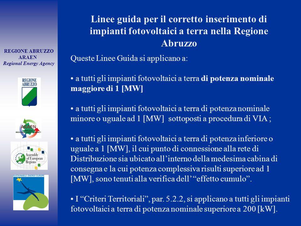 REGIONE ABRUZZO ARAEN Regional Energy Agency Linee guida per il corretto inserimento di impianti fotovoltaici a terra nella Regione Abruzzo Queste Lin