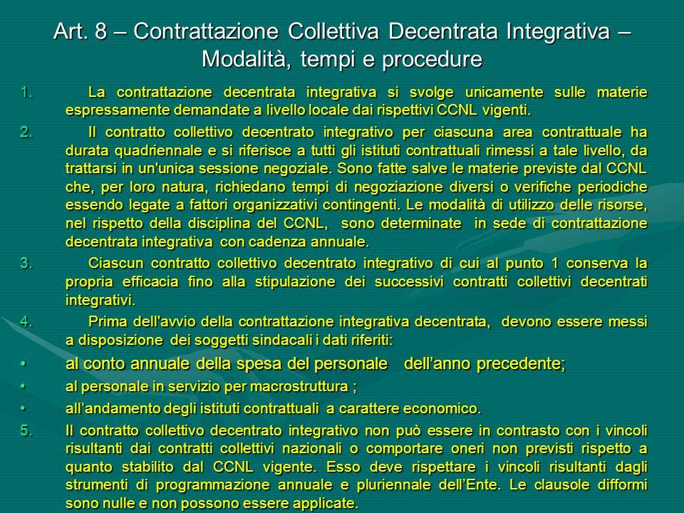 Art. 8 – Contrattazione Collettiva Decentrata Integrativa – Modalità, tempi e procedure 1.La contrattazione decentrata integrativa si svolge unicament
