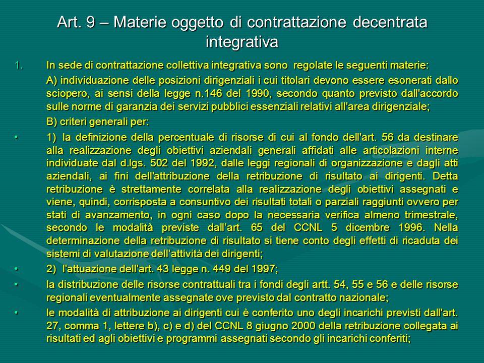 Art. 9 – Materie oggetto di contrattazione decentrata integrativa 1.In sede di contrattazione collettiva integrativa sono regolate le seguenti materie