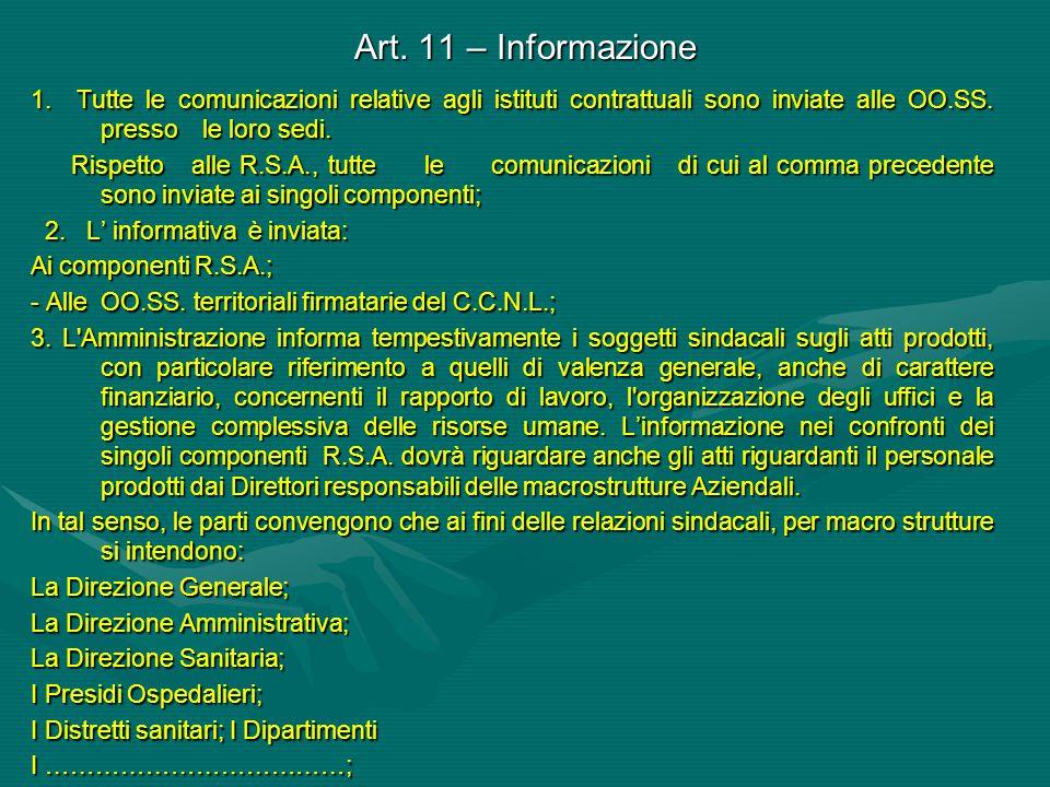 Art. 11 – Informazione 1. Tutte le comunicazioni relative agli istituti contrattuali sono inviate alle OO.SS. presso le loro sedi. Rispetto alle R.S.A