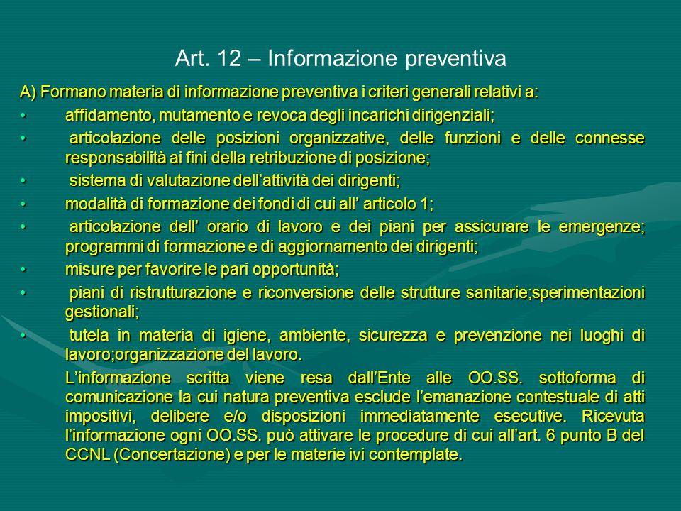 Art. 12 – Informazione preventiva A) Formano materia di informazione preventiva i criteri generali relativi a: affidamento, mutamento e revoca degli i