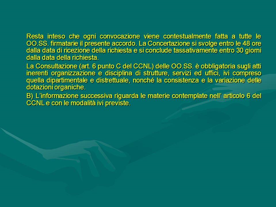 Resta inteso che ogni convocazione viene contestualmente fatta a tutte le OO.SS. firmatarie il presente accordo. La Concertazione si svolge entro le 4