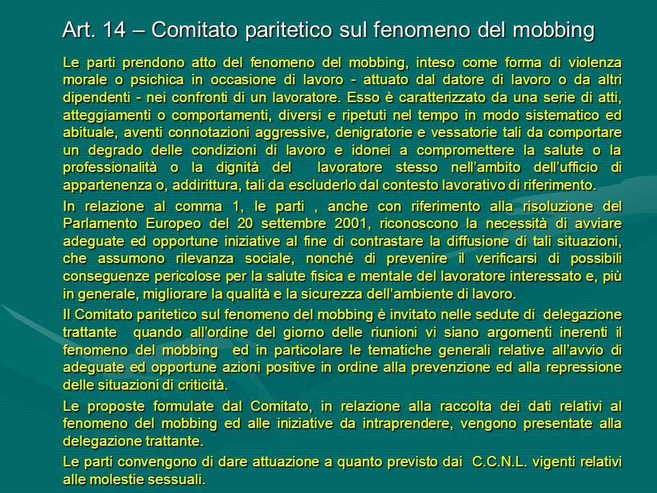 Art. 14 – Comitato paritetico sul fenomeno del mobbing Le parti prendono atto del fenomeno del mobbing, inteso come forma di violenza morale o psichic