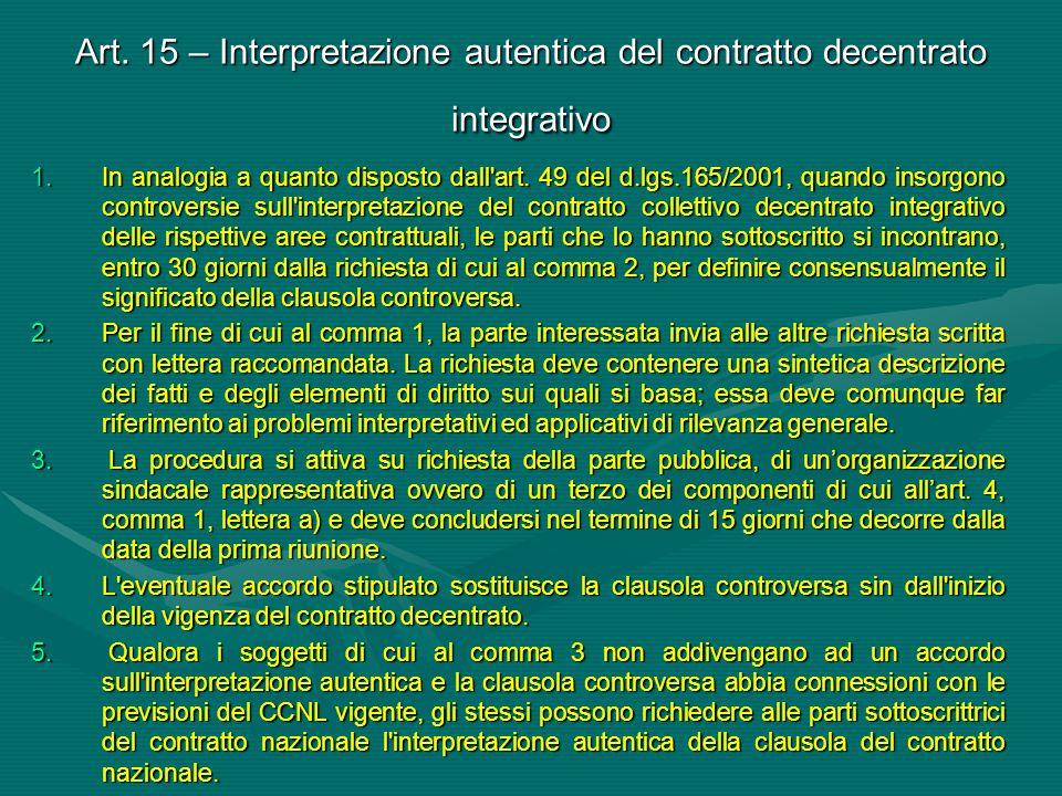Art. 15 – Interpretazione autentica del contratto decentrato integrativo 1.In analogia a quanto disposto dall'art. 49 del d.lgs.165/2001, quando insor
