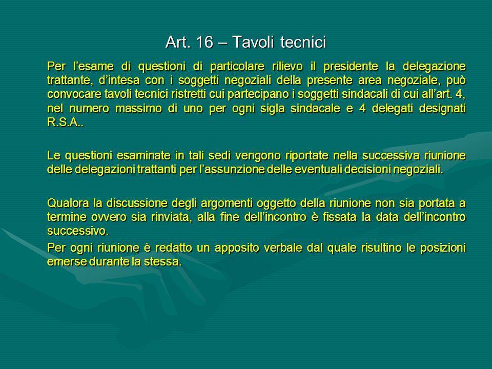 Art. 16 – Tavoli tecnici Per l'esame di questioni di particolare rilievo il presidente la delegazione trattante, d'intesa con i soggetti negoziali del