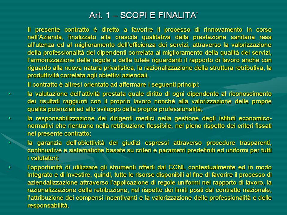 Art. 1 – SCOPI E FINALITA' Il presente contratto è diretto a favorire il processo di rinnovamento in corso nell'Azienda, finalizzato alla crescita qua