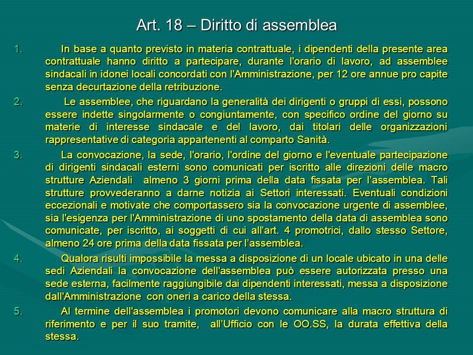 Art. 18 – Diritto di assemblea 1.In base a quanto previsto in materia contrattuale, i dipendenti della presente area contrattuale hanno diritto a part