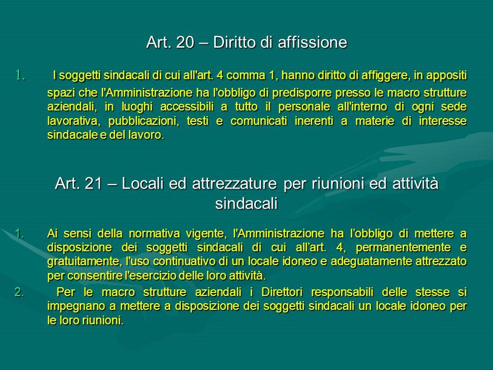 Art. 20 – Diritto di affissione 1. I soggetti sindacali di cui all'art. 4 comma 1, hanno diritto di affiggere, in appositi spazi che l'Amministrazione