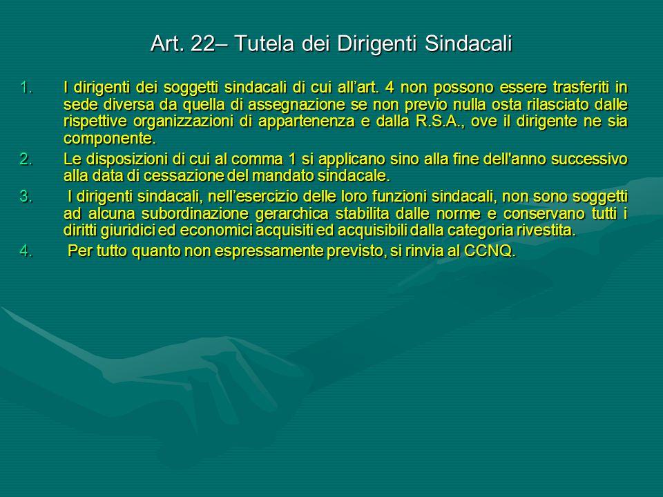 Art. 22– Tutela dei Dirigenti Sindacali 1.I dirigenti dei soggetti sindacali di cui all'art. 4 non possono essere trasferiti in sede diversa da quella