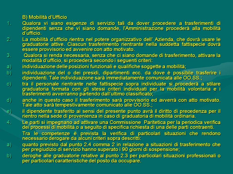 B) Mobilità d'Ufficio 1.Qualora vi siano esigenze di servizio tali da dover procedere a trasferimenti di dipendenti senza che vi siano domande, l'Ammi