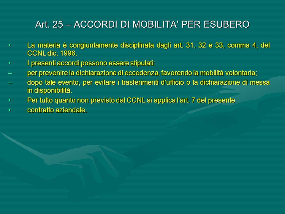 Art. 25 – ACCORDI DI MOBILITA' PER ESUBERO La materia è congiuntamente disciplinata dagli art. 31, 32 e 33, comma 4, del CCNL dic. 1996.La materia è c
