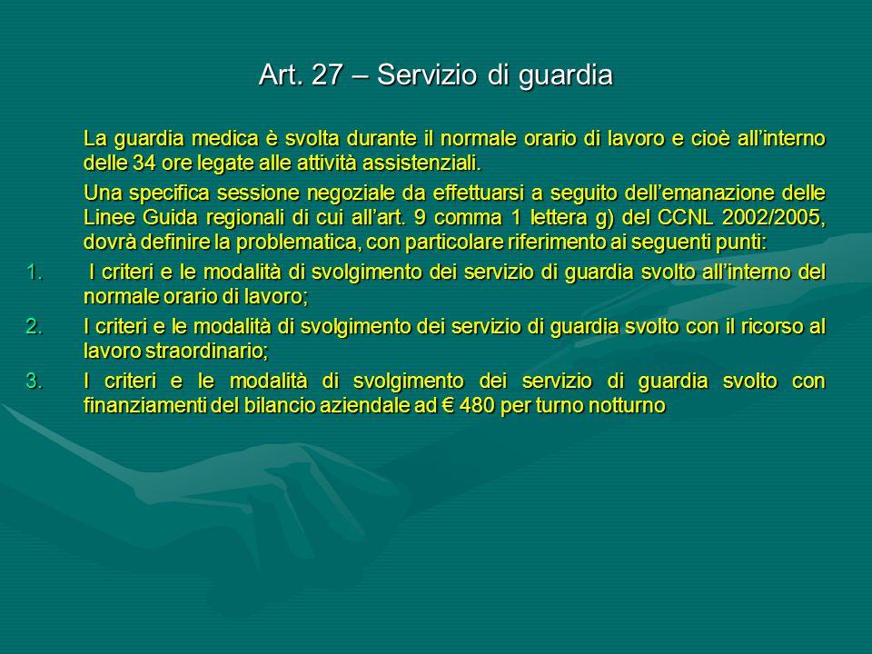 Art. 27 – Servizio di guardia La guardia medica è svolta durante il normale orario di lavoro e cioè all'interno delle 34 ore legate alle attività assi