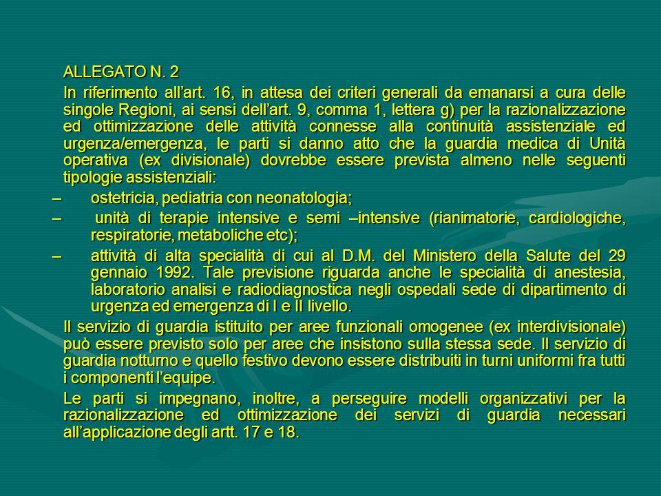 ALLEGATO N. 2 In riferimento all'art. 16, in attesa dei criteri generali da emanarsi a cura delle singole Regioni, ai sensi dell'art. 9, comma 1, lett