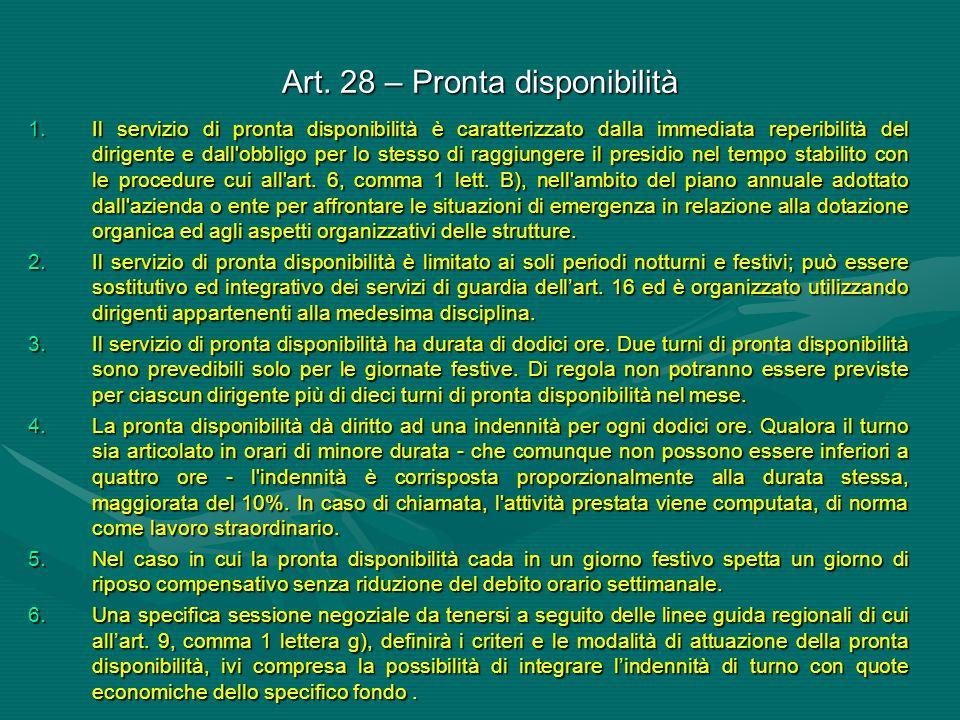 Art. 28 – Pronta disponibilità 1.Il servizio di pronta disponibilità è caratterizzato dalla immediata reperibilità del dirigente e dall'obbligo per lo