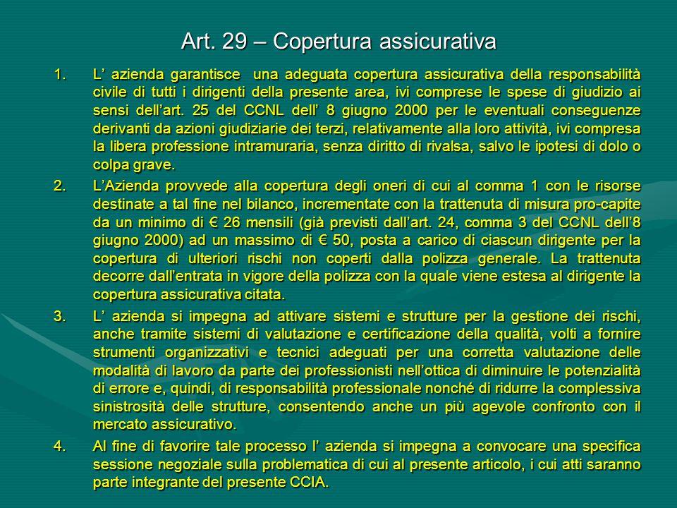 Art. 29 – Copertura assicurativa 1.L' azienda garantisce una adeguata copertura assicurativa della responsabilità civile di tutti i dirigenti della pr