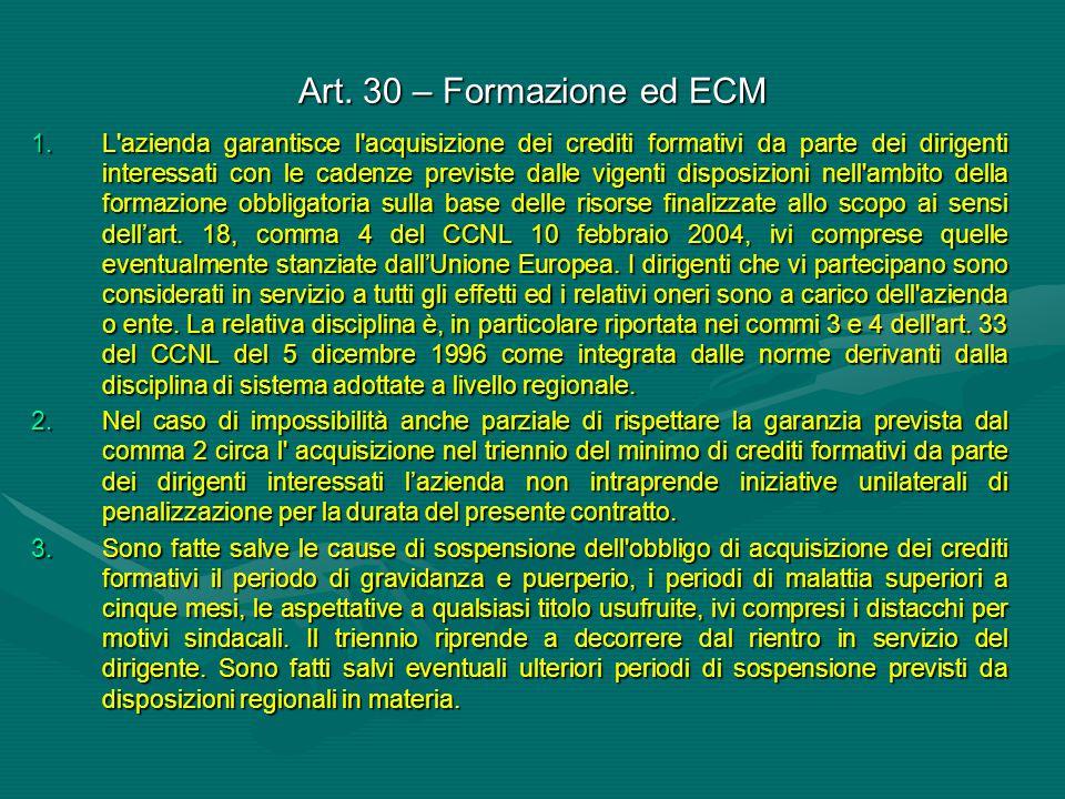 Art. 30 – Formazione ed ECM 1.L'azienda garantisce l'acquisizione dei crediti formativi da parte dei dirigenti interessati con le cadenze previste dal