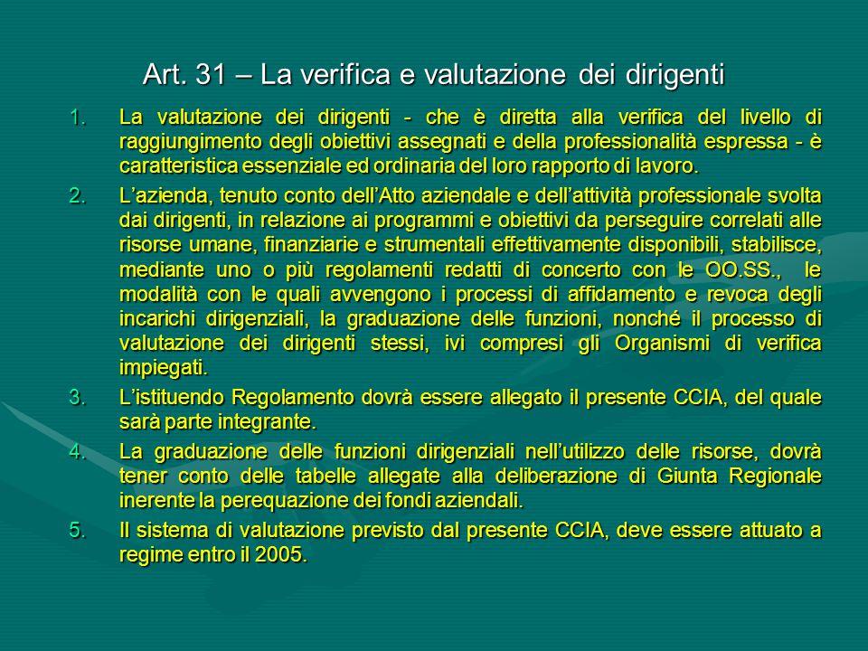Art. 31 – La verifica e valutazione dei dirigenti 1.La valutazione dei dirigenti - che è diretta alla verifica del livello di raggiungimento degli obi