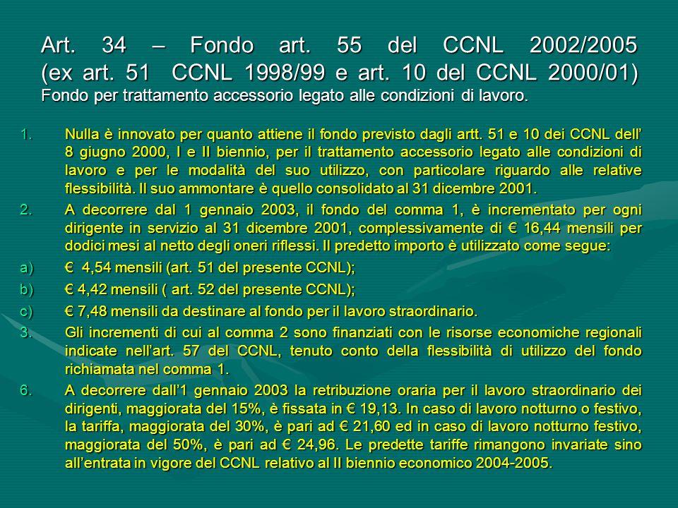 Art. 34 – Fondo art. 55 del CCNL 2002/2005 (ex art. 51 CCNL 1998/99 e art. 10 del CCNL 2000/01) Fondo per trattamento accessorio legato alle condizion