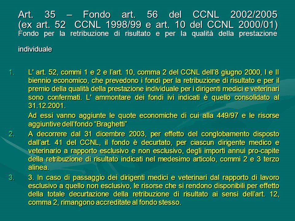 Art. 35 – Fondo art. 56 del CCNL 2002/2005 (ex art. 52 CCNL 1998/99 e art. 10 del CCNL 2000/01) Fondo per la retribuzione di risultato e per la qualit