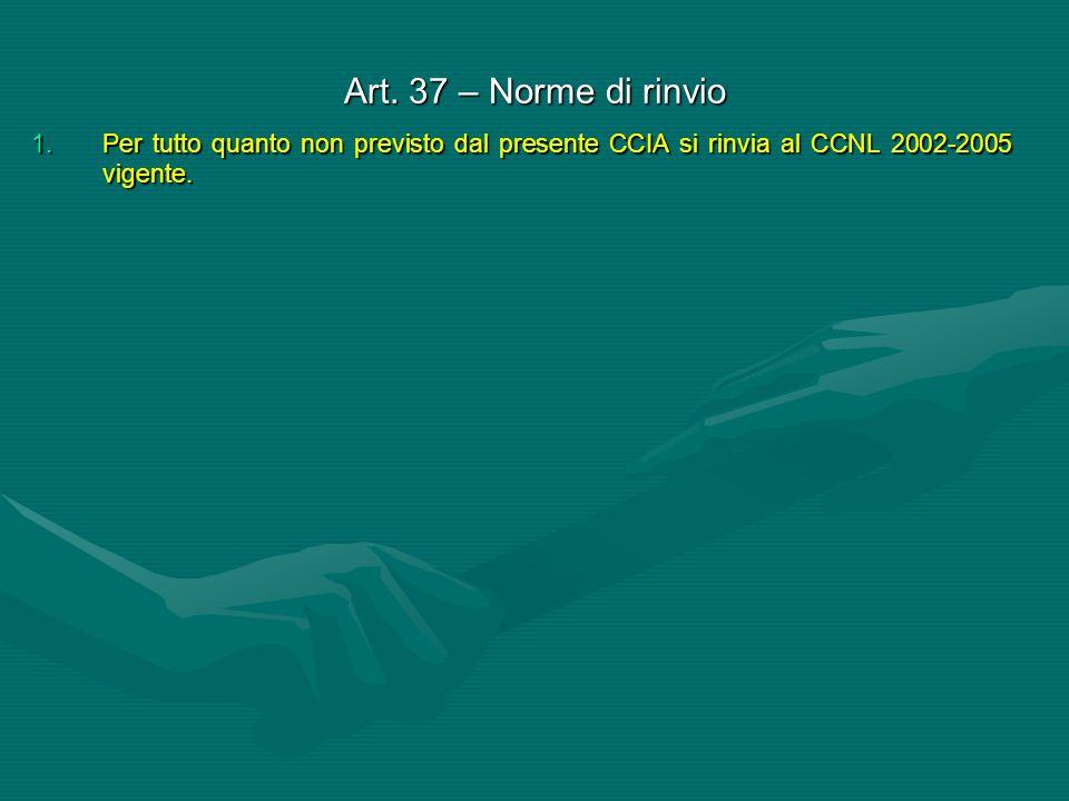 Art. 37 – Norme di rinvio 1.Per tutto quanto non previsto dal presente CCIA si rinvia al CCNL 2002-2005 vigente.
