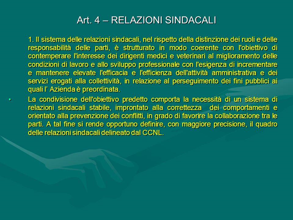Art. 4 – RELAZIONI SINDACALI 1. Il sistema delle relazioni sindacali, nel rispetto della distinzione dei ruoli e delle responsabilità delle parti, è s