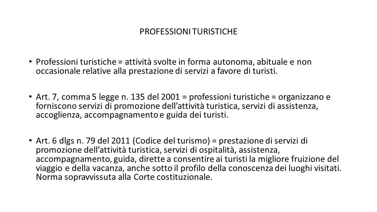 PROFESSIONI TURISTICHE Professioni turistiche = attività svolte in forma autonoma, abituale e non occasionale relative alla prestazione di servizi a f