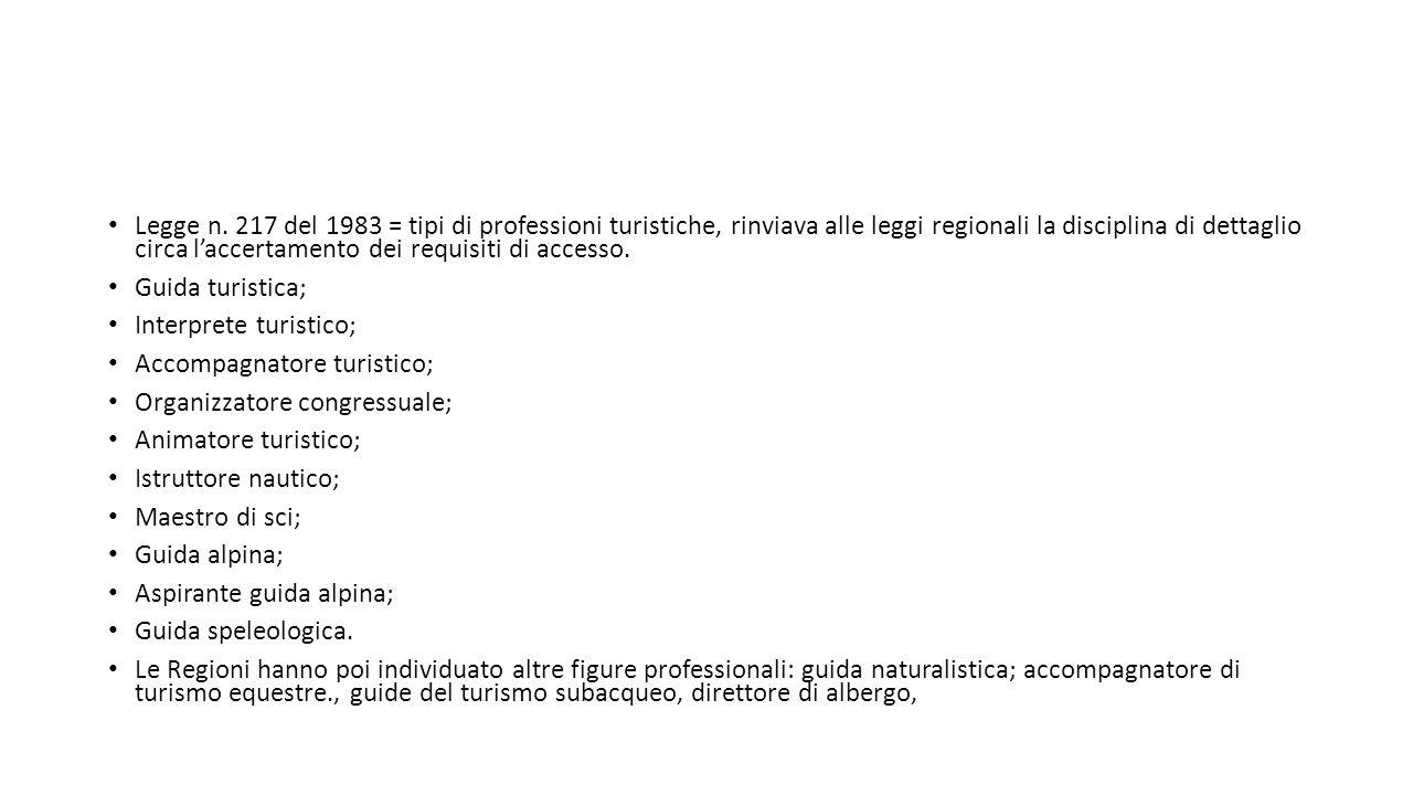Legge n. 217 del 1983 = tipi di professioni turistiche, rinviava alle leggi regionali la disciplina di dettaglio circa l'accertamento dei requisiti di
