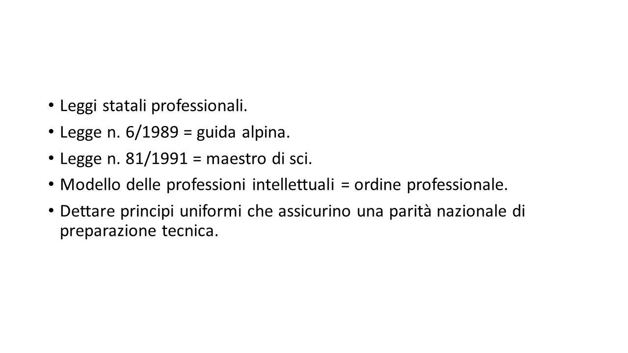 Leggi statali professionali. Legge n. 6/1989 = guida alpina. Legge n. 81/1991 = maestro di sci. Modello delle professioni intellettuali = ordine profe