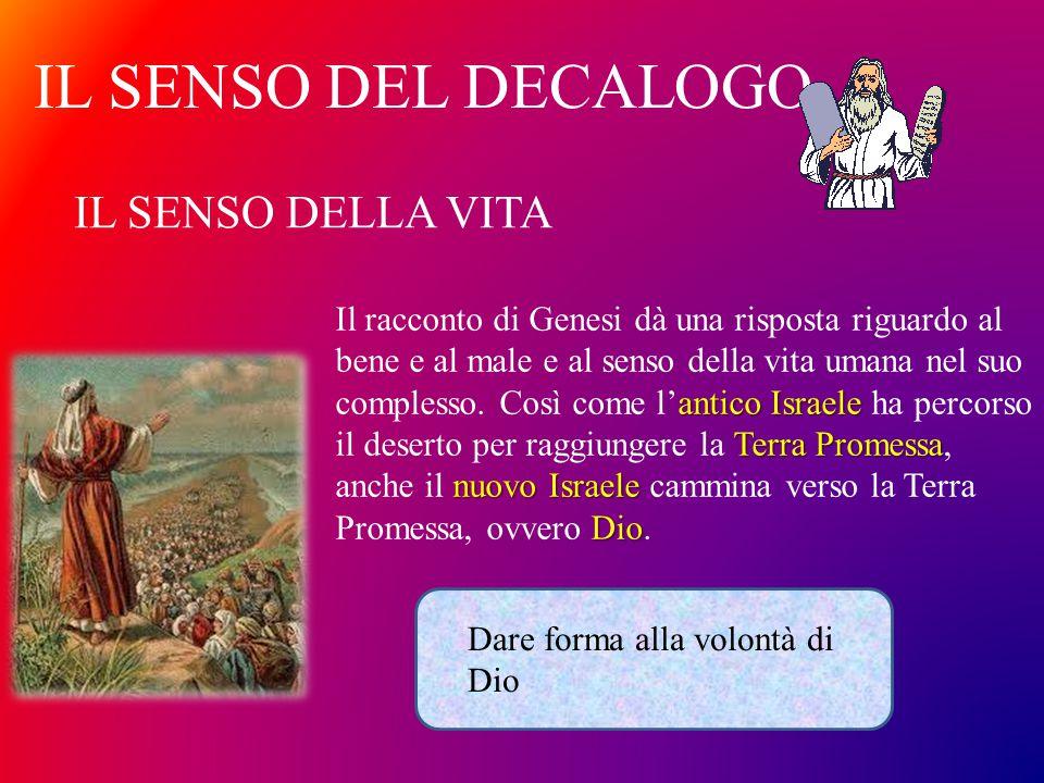 IL SENSO DEL DECALOGO antico Israele Terra Promessa nuovo Israele Dio Il racconto di Genesi dà una risposta riguardo al bene e al male e al senso dell
