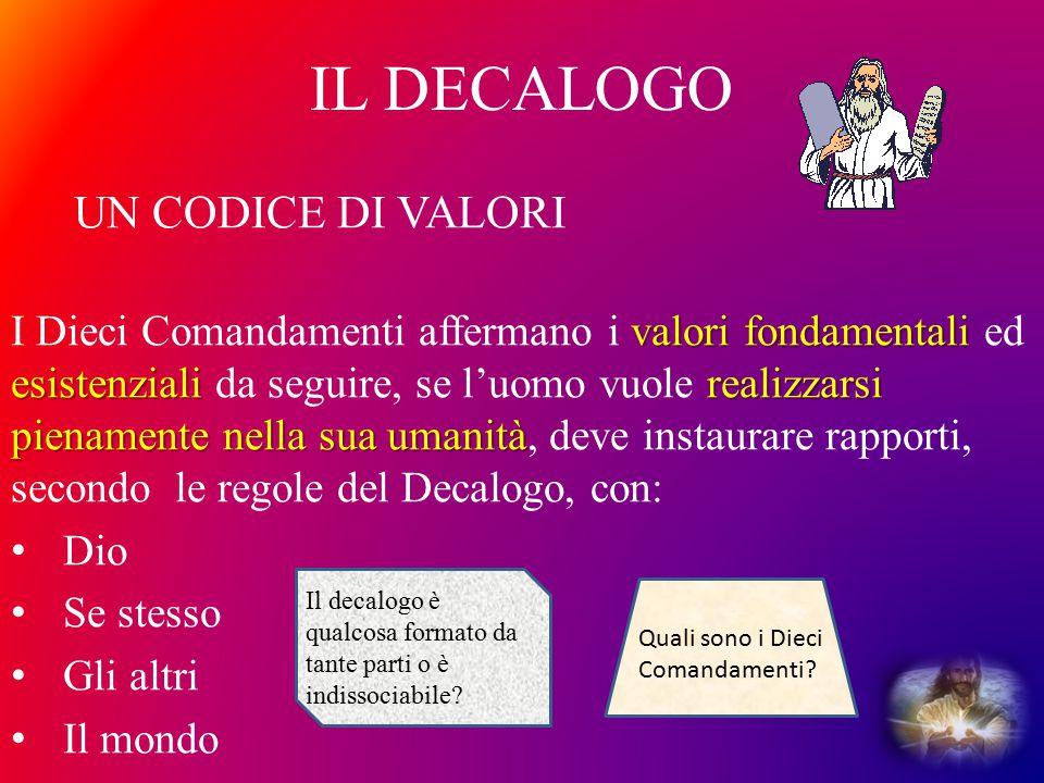 IL DECALOGO valori fondamentali esistenzialirealizzarsi pienamente nella sua umanità I Dieci Comandamenti affermano i valori fondamentali ed esistenzi