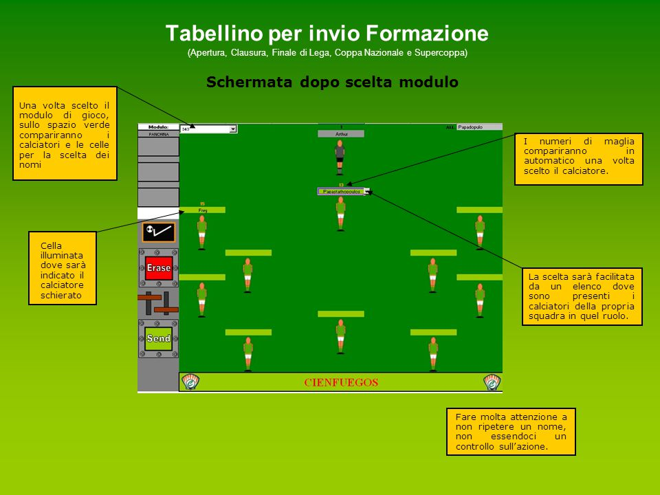 Tabellino per invio Formazione (Apertura, Clausura, Finale di Lega, Coppa Nazionale e Supercoppa) Schermata a fine operazione Scrivere il nome dell'allenatore rispetto alla propria fascia di appartenenza.