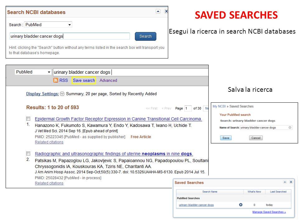 Esegui la ricerca in search NCBI databases Salva la ricerca SAVED SEARCHES
