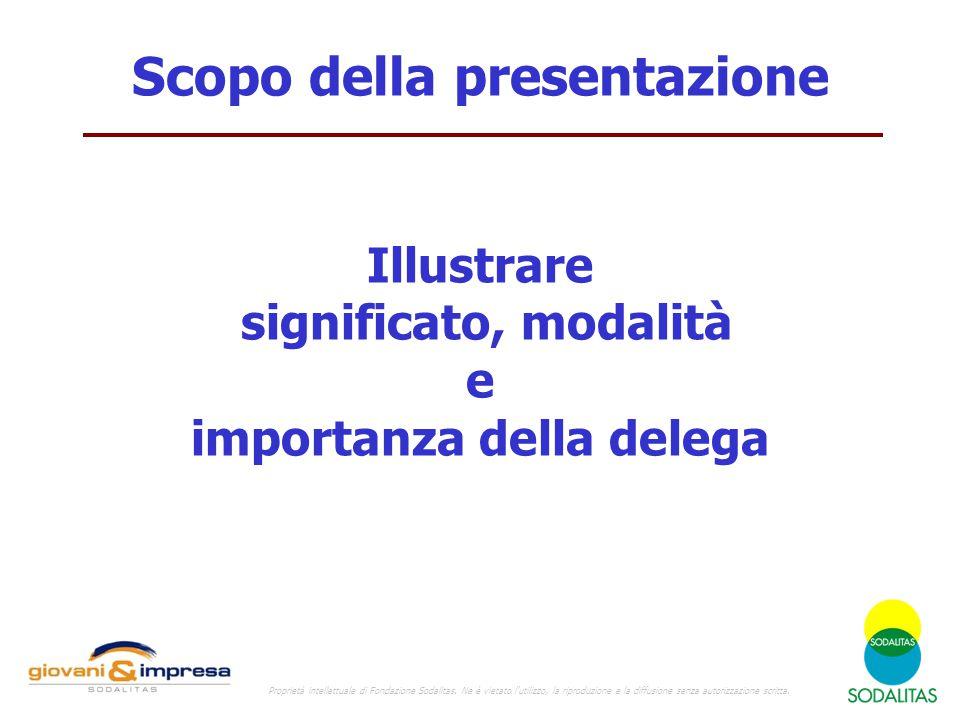 Scopo della presentazione Illustrare significato, modalità e importanza della delega Proprietà intellettuale di Fondazione Sodalitas.