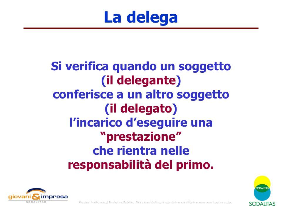La delega Si verifica quando un soggetto (il delegante) conferisce a un altro soggetto (il delegato) l'incarico d'eseguire una prestazione che rientra nelle responsabilità del primo.