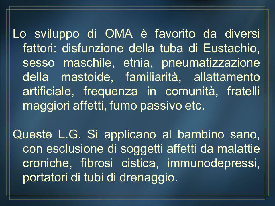 Lo sviluppo di OMA è favorito da diversi fattori: disfunzione della tuba di Eustachio, sesso maschile, etnia, pneumatizzazione della mastoide, familia